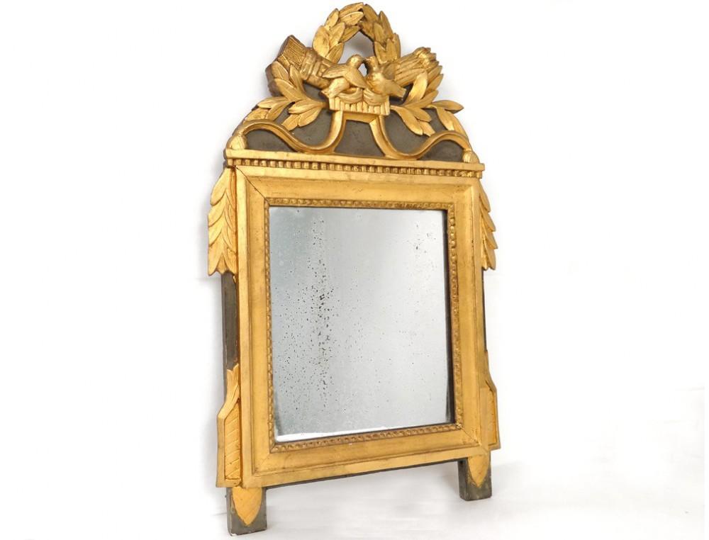 miroir louis xvi bois sculpt dor oiseaux carquois