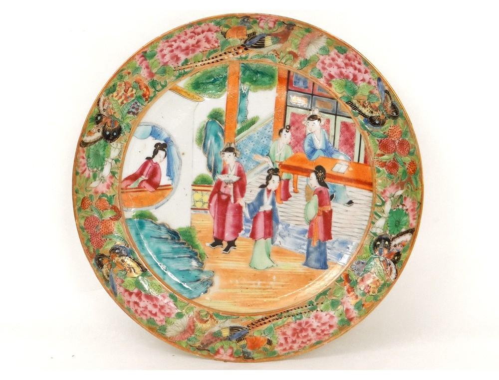 assiette porcelaine canton personnages mandarins femmes oiseaux chine xix. Black Bedroom Furniture Sets. Home Design Ideas