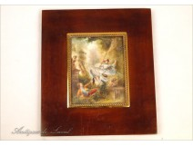 "Miniature painted scenes of gallantry after ""The Swing"" by Fragonard 19th"