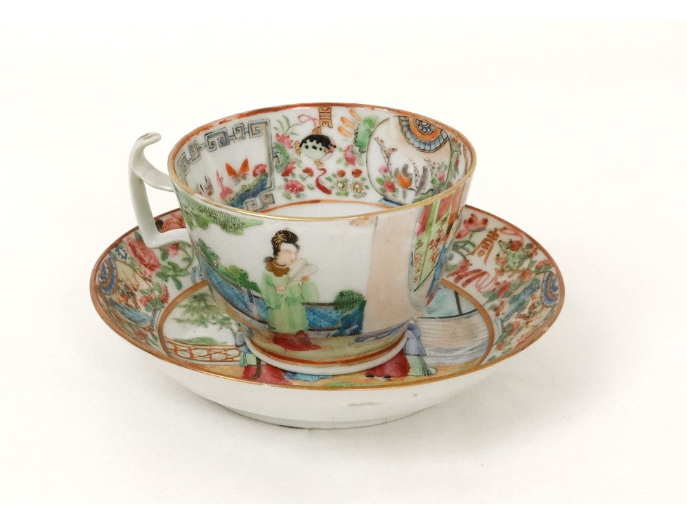 tasse soucoupe porcelaine canton personnages geisha pagode. Black Bedroom Furniture Sets. Home Design Ideas
