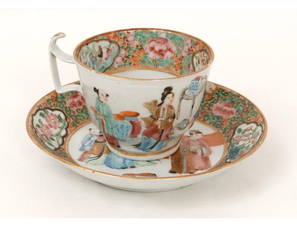 tasse soucoupe porcelaine canton personnages femmes. Black Bedroom Furniture Sets. Home Design Ideas