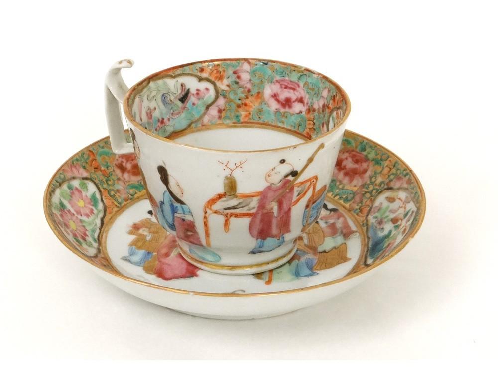 tasse soucoupe porcelaine canton femmes mandarins oiseaux fleurs chine xix. Black Bedroom Furniture Sets. Home Design Ideas