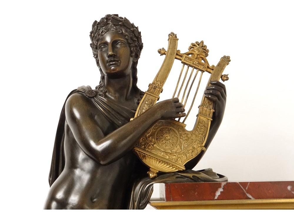 Superbe Grande Pendule Marbre Bronze Dor 233 Dieu Apollon