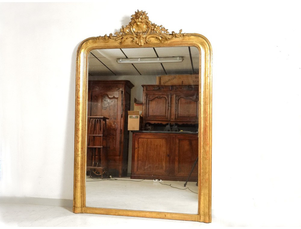 grand miroir de chemin e bois stuqu dor fleurs coquille napol on iii xix antiques de laval. Black Bedroom Furniture Sets. Home Design Ideas