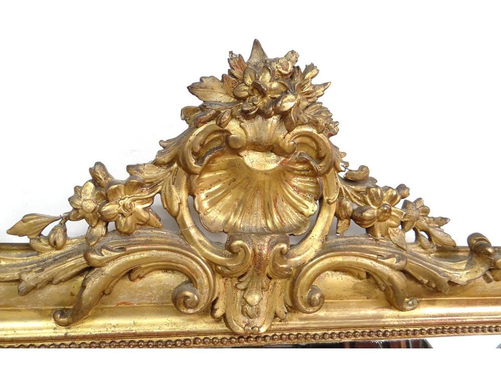 Grand miroir de chemin e bois stuqu dor fleurs coquille for Miroir napoleon
