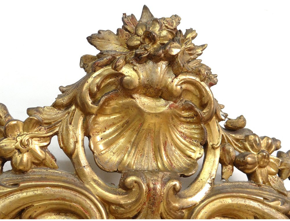Large Wood Fireplace Mirror Gilded Stucco Shell Flowers