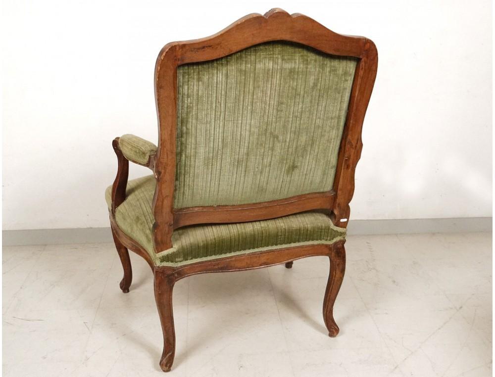 fauteuil louis xv la reine noyer sculpt coquilles. Black Bedroom Furniture Sets. Home Design Ideas
