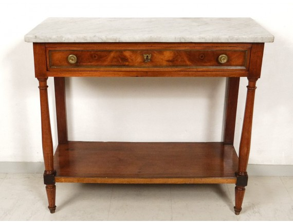 Superb Louis XVI console walnut eighteenth century white marble columns  Ant -> Marbre Blanc Dorure Metal Table