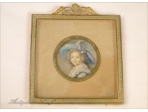 Miniature painted, Femme au Chapeau, gilt frame, 19th