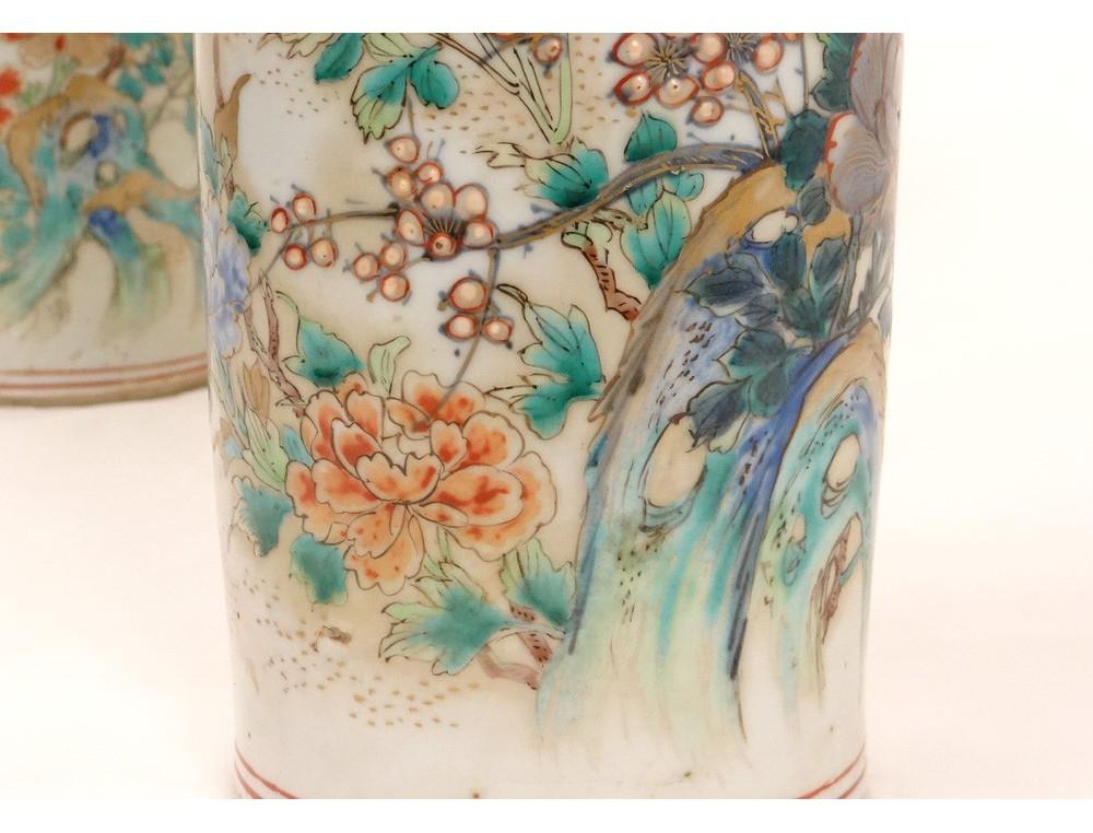 Superb Pair Of Chinese Porcelain Vases Rolls Celadon Bird Nineteenth Flowers
