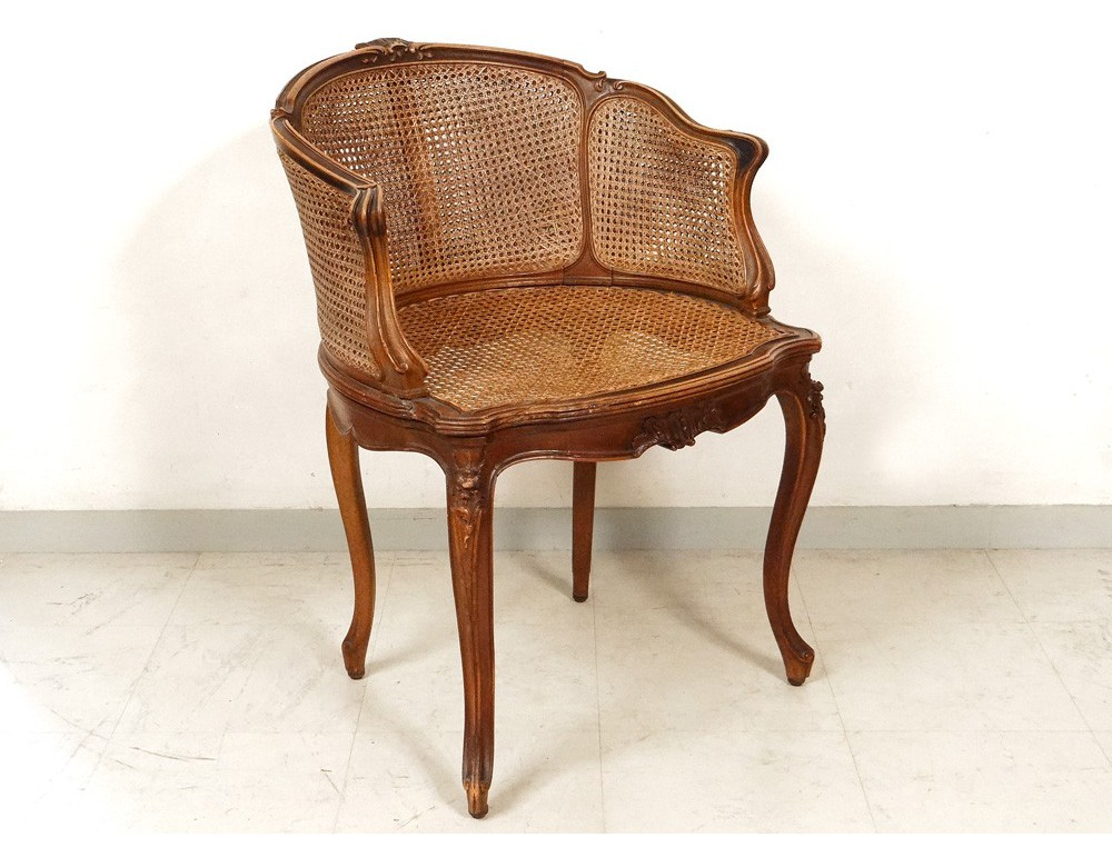 Office chair caned louis xv carved walnut shells flowers for Chaise en noyer