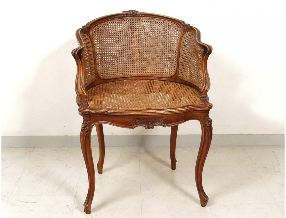 Office chair caned louis xv carved walnut shells flowers for Bureau louis xv