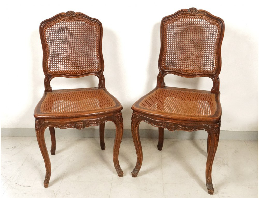 Louis xv carved walnut chairs pair caned acanthus flowers for Chaise louis xv