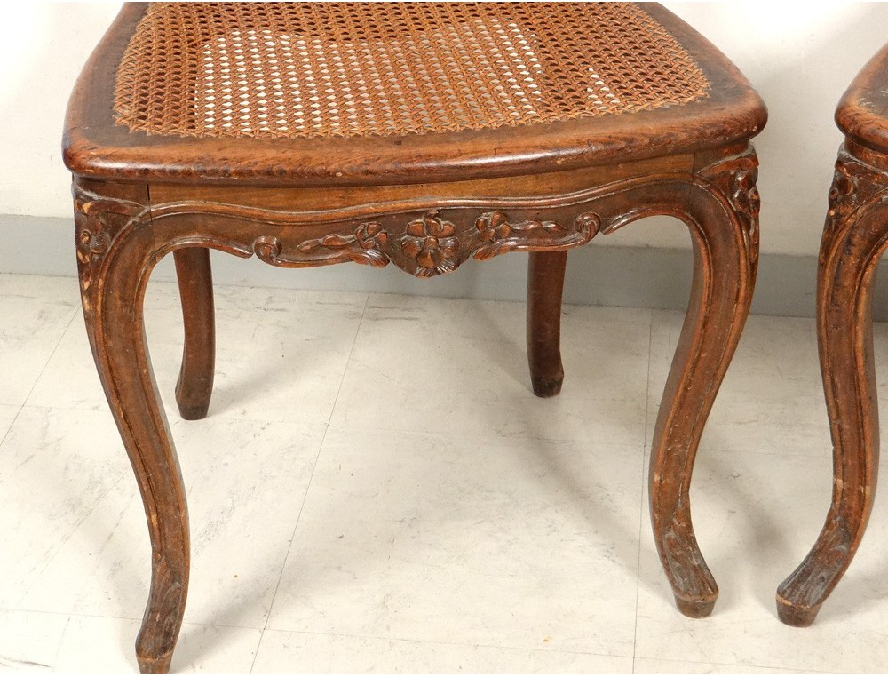 louis xv carved walnut chairs pair caned acanthus flowers nineteenth century antiques de laval