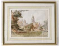 Aquarelle vue collège Christchurch Oxford Angleterre C.W.Fothergill XIXème