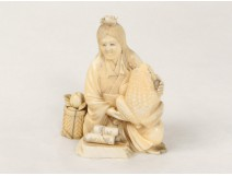 Okimono carved ivory statuette old woman toads fruit nineteenth Japan