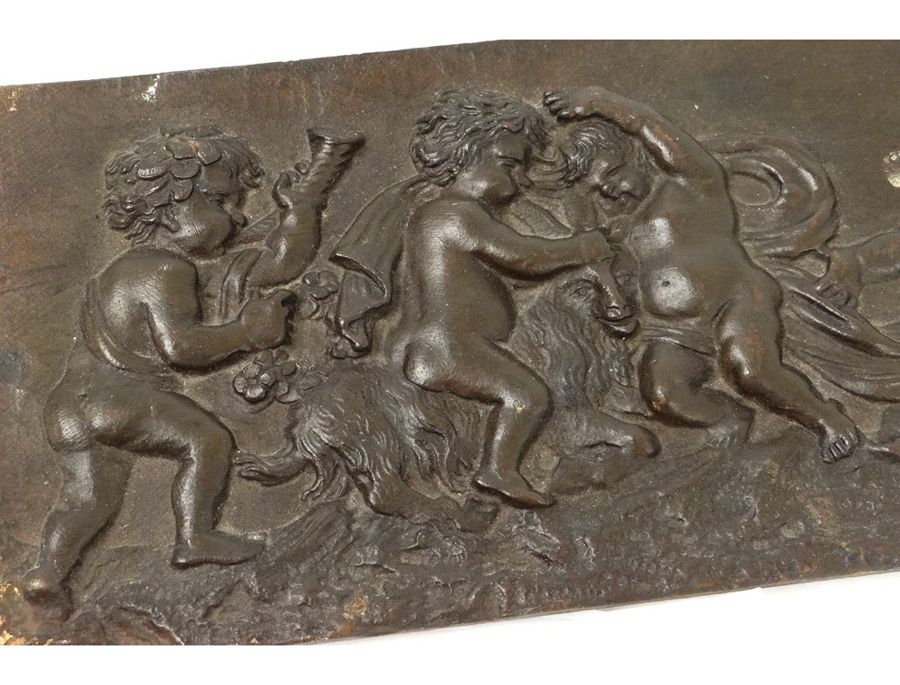 Sculpture Bas Relief Bronze Putti Angelots Boucs Clodion