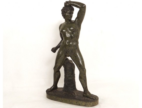Stonelifter Rare Bronze Cabinet Sculpture with Male Nude