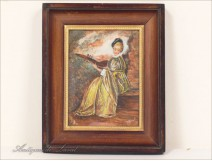 "Miniature painted ""the ferret of Watteau"" by G.Moral, 20th"
