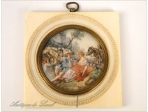 Miniature painted on ivory, gallant scene, 19th