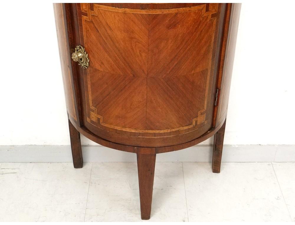 Petit meuble Louis XVI demi lune marqueterie bois rose marbre XVIII u00e8 si u00e8cle Antiques de Laval # Meuble Bois De Rose