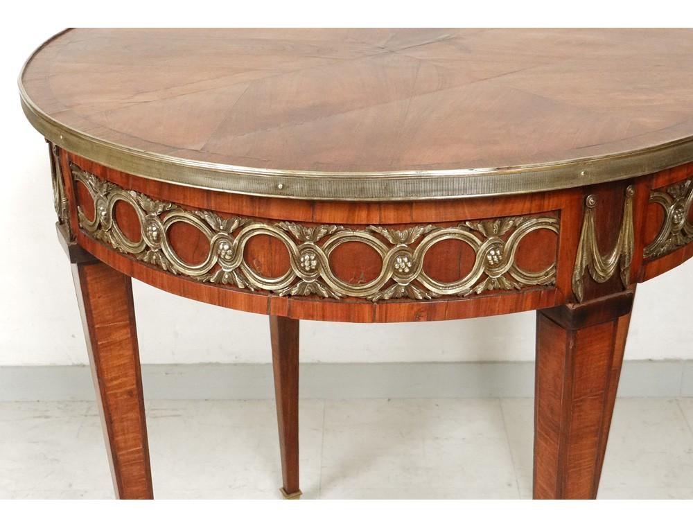 Table bouillotte Louis XVI marqueterie bois rose bronze laiton doré XIXème