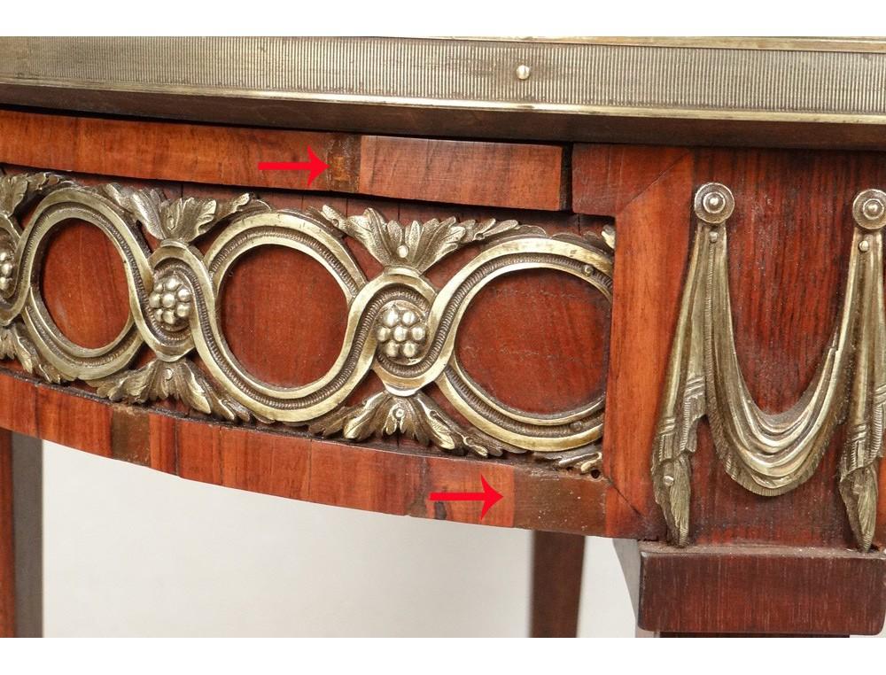 Table Bouillotte Louis Xvi Marqueterie Bois Rose Bronze
