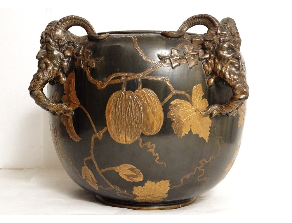 Large Pot Glazed Ceramic Fauna Satyr Japonisant Art