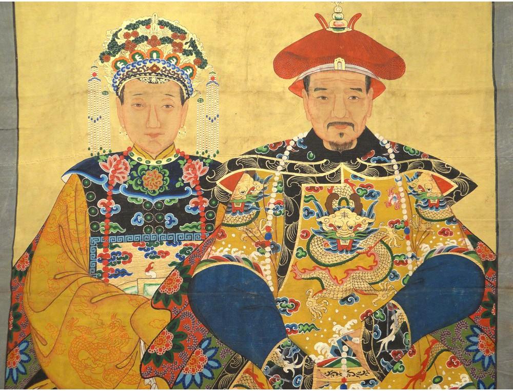 Rare Grande Peinture Tissu Portrait Dignitaire Chinois