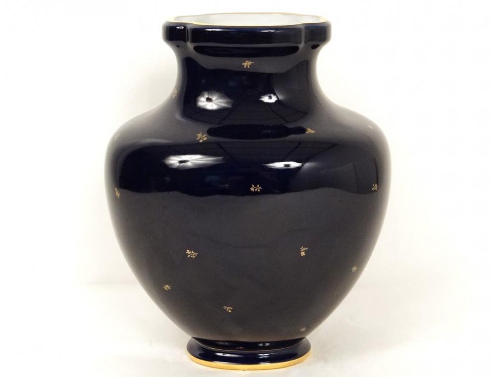 vase porcelaine de s vres mod le decoeur bleu fleurs dorure xx me si cle. Black Bedroom Furniture Sets. Home Design Ideas