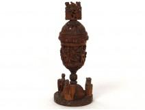 Rare calice pot onguent encensoir corozo sculpté personnages angelots XIXè