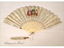 Ivory fan, gallant scene, nineteenth