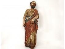 Statue sculpture bois polychrome Saint personnage religieux prophète XVIIIè