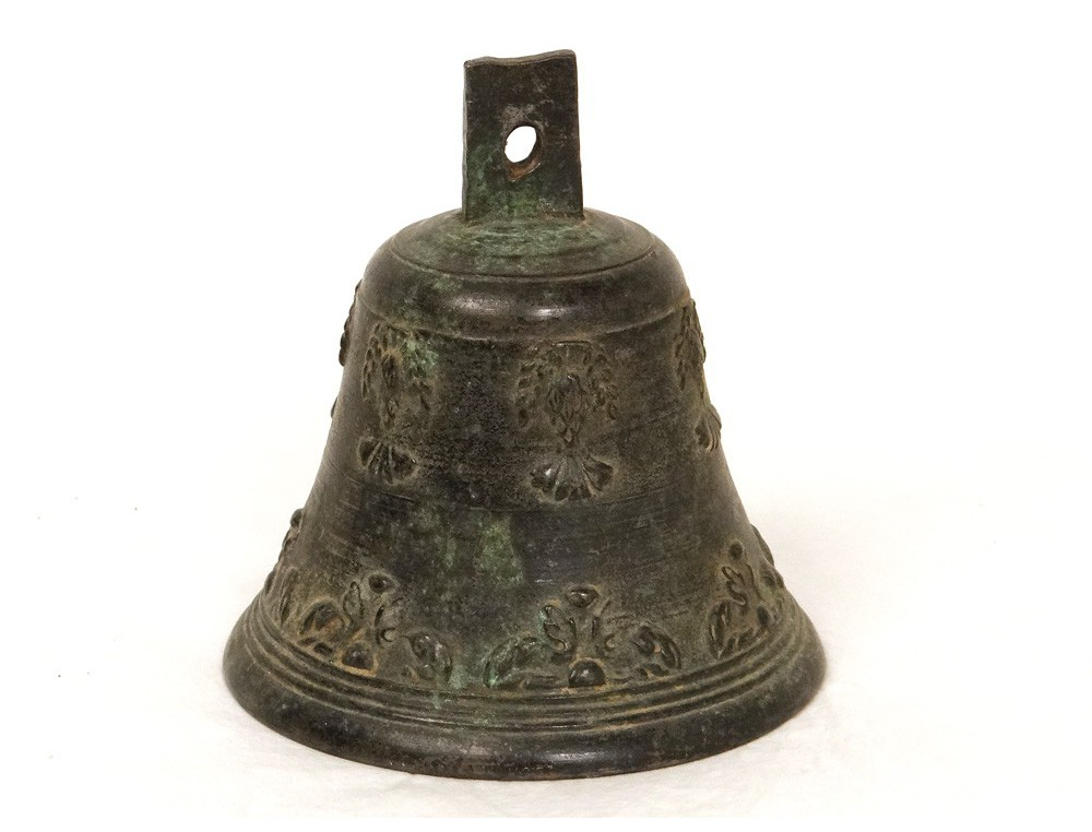 Cloche Bronze Airain Feuillage Antique French Bell Xvii 232 Me Si 232 Cle