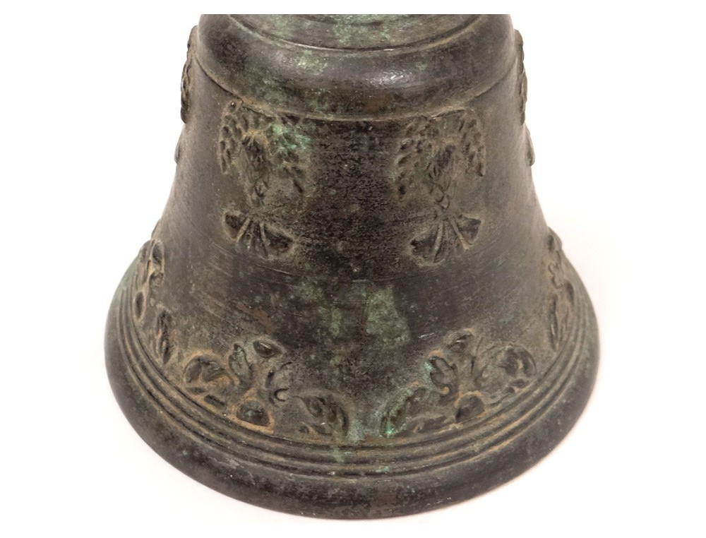 Cloche Bronze Airain Feuillage Antique French Bell Xvii 232 Me