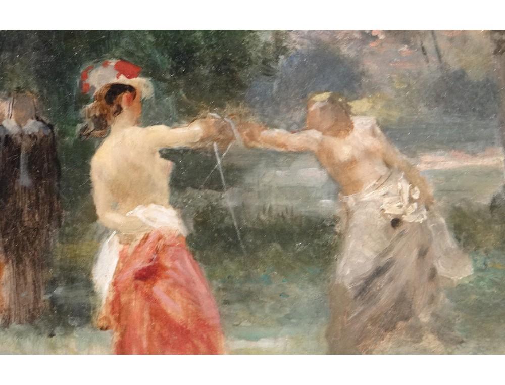 Hst tableau paysage femmes duel p e emile bayard cadre for Paysage