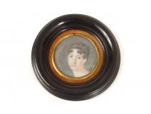 Miniature peinte portrait jeune femme élégante Ier Empire painting XIXème