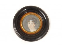 Miniature painted portrait young elegant woman I Empire painting XIXth