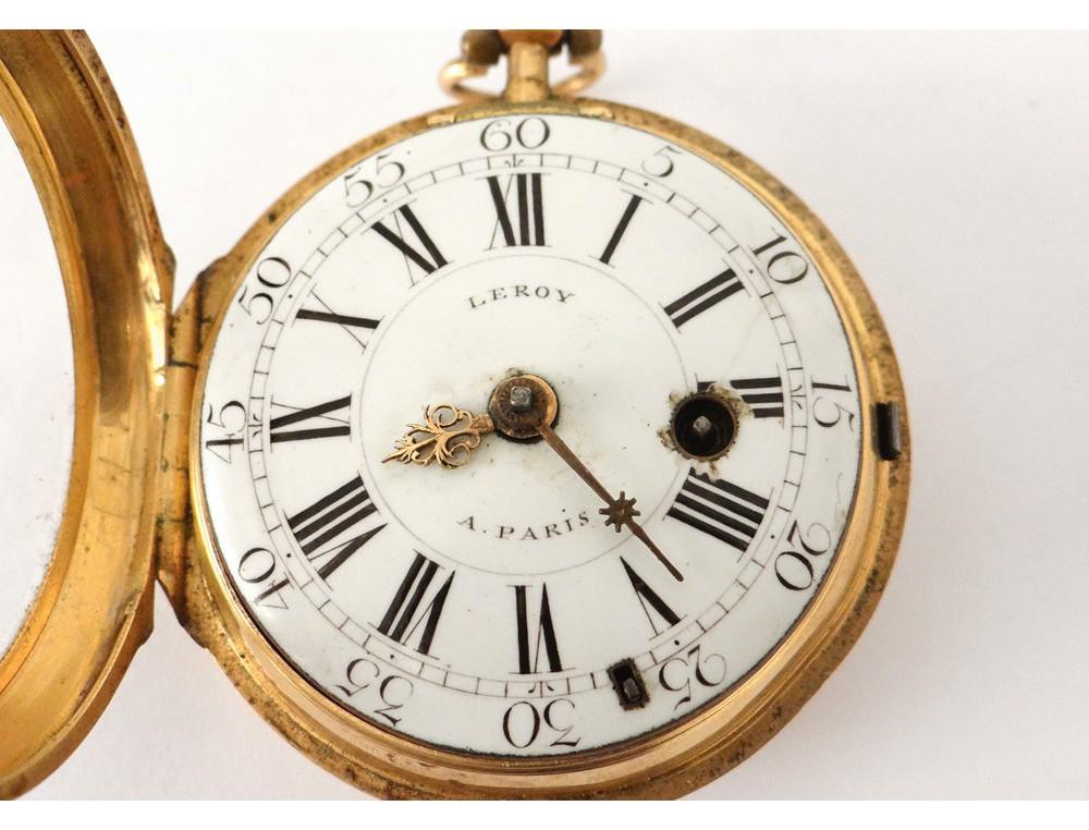 Favori Montre de poche à coq or massif 18 carats horloger Leroy gold  LI62