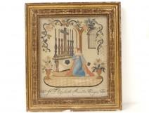 Tableau broderie fils or soie Sainte Elisabeth Hongrie autel église XIXème