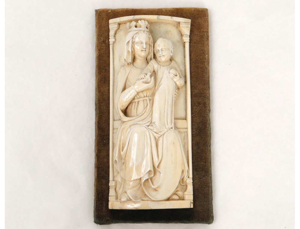 Bas relief sculpture madonna and child carved ivory globe