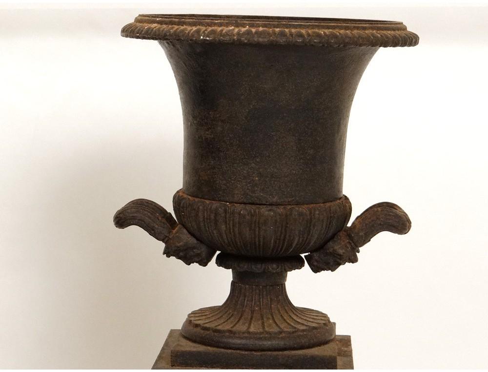 pair cassolettes medici vases cast cute music painting mascaron 19th antiques de laval. Black Bedroom Furniture Sets. Home Design Ideas