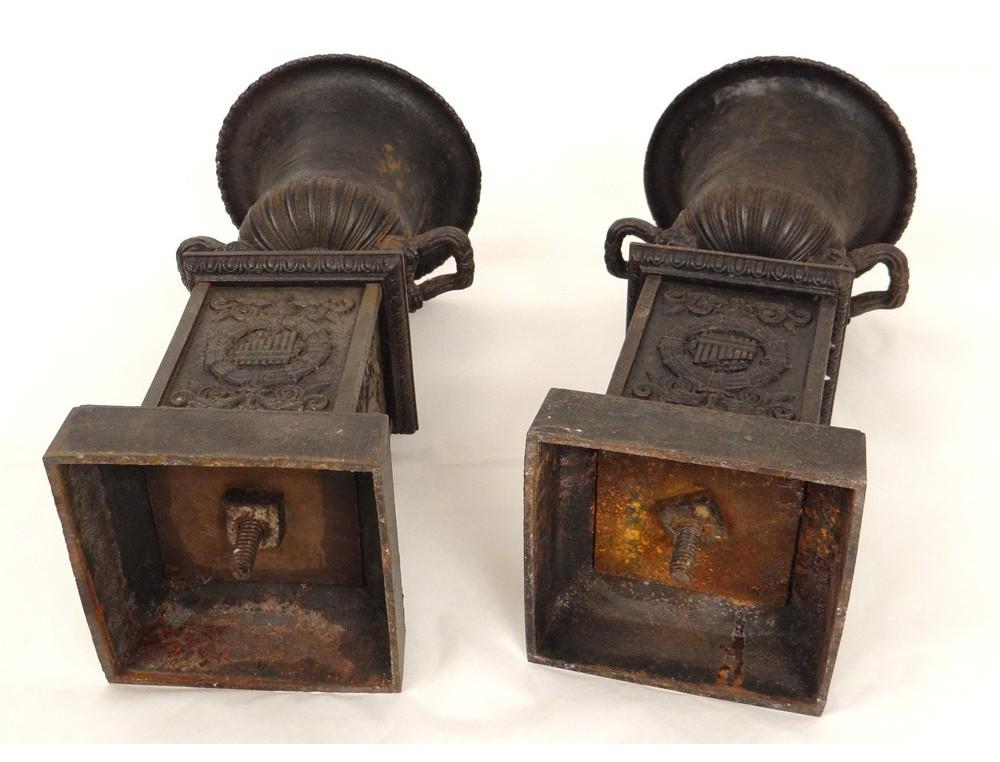 pair cassolettes medici vases cast cute music painting mascaron 19th. Black Bedroom Furniture Sets. Home Design Ideas