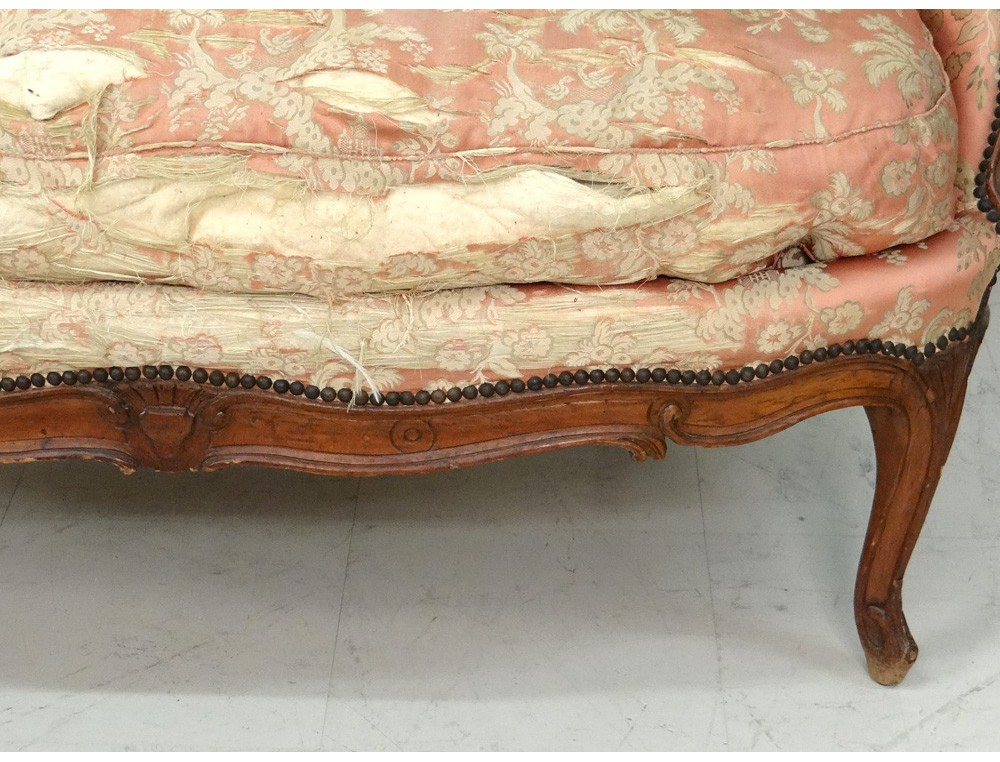 Sofa bench carved walnut louis xv trash stamp tilliard for Canape louis 15