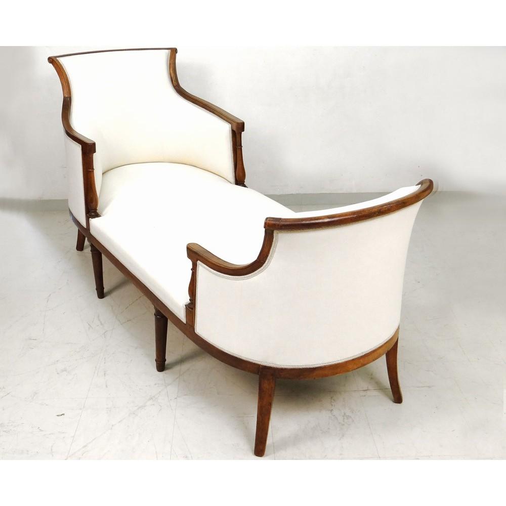 superbe duchesse en bateau chaise longue merisier directoire xviii si cle ebay. Black Bedroom Furniture Sets. Home Design Ideas