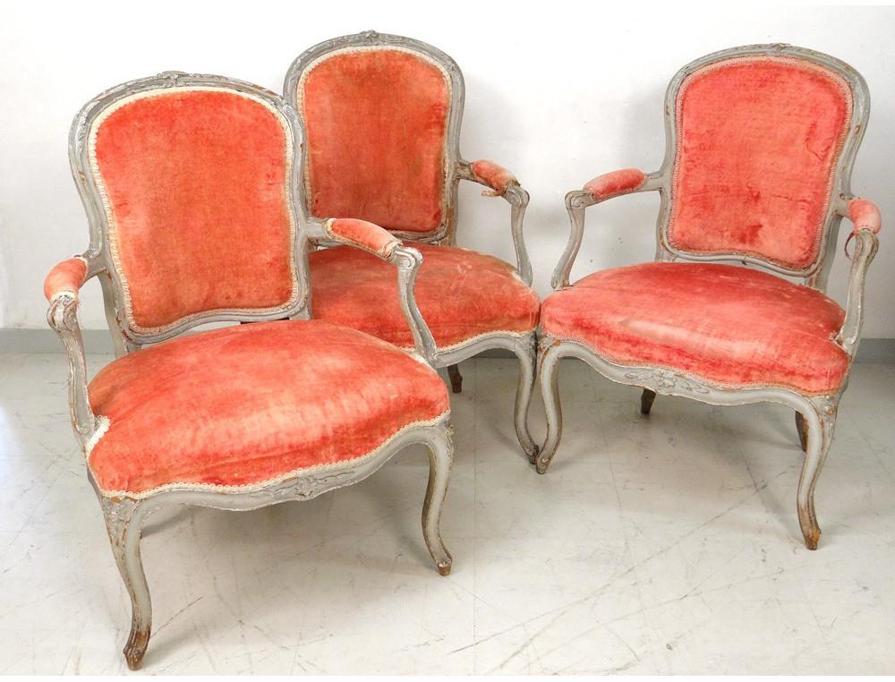 3 fauteuils cabriolet louis xv bois sculpt laqu estampille p r my xviii. Black Bedroom Furniture Sets. Home Design Ideas