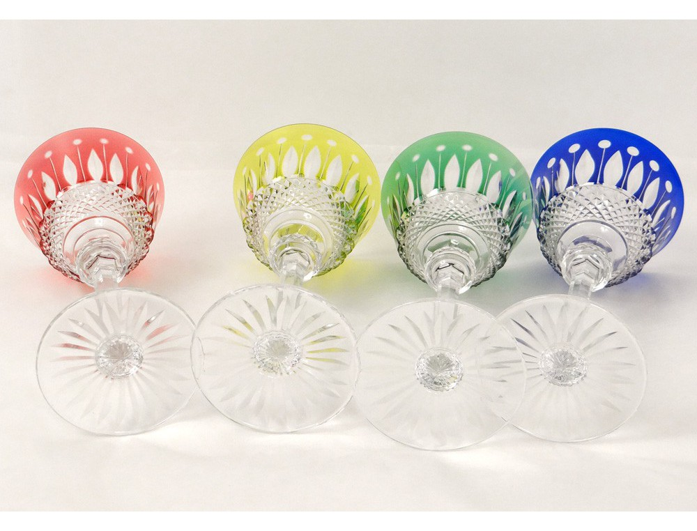 4 verres pied cristal taill saint louis couleur mod le tommy roemer xx - Verre saint louis prix ...