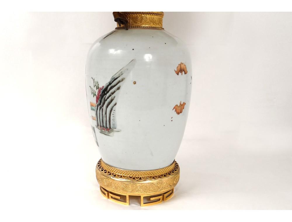 lampe porcelaine chinoise personnages enfants bronze dor. Black Bedroom Furniture Sets. Home Design Ideas
