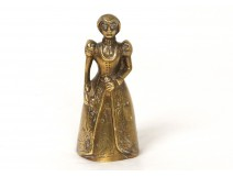 Table bell gilded bronze female french antique medieval bell XIX