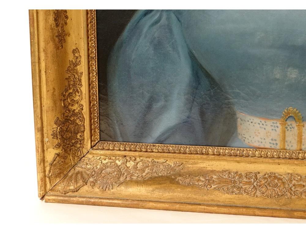 hst tableau portrait jeune femme romantique cadre stuqu. Black Bedroom Furniture Sets. Home Design Ideas